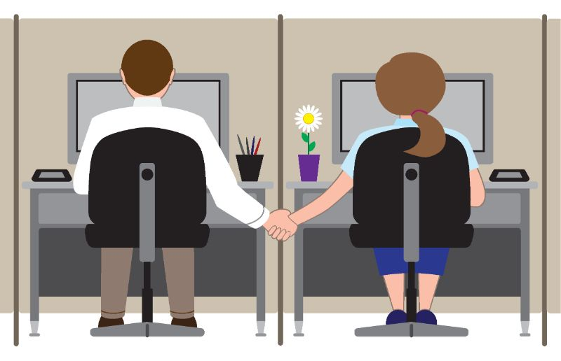 Vektorbild von zwei Mitarbeitern, die sich an den Händen halten
